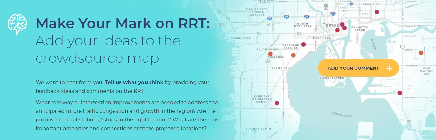 Image of Tampa Bay map with link to add ideas for RRT onto a crowd source map.